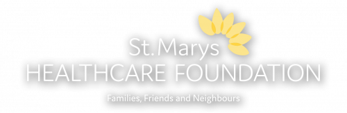 ST MARYS HEALTHCARE FOUNDATION logo horizontal full colour TAGLINE - white